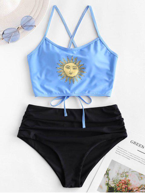sale ZAFUL Sun Print Lace Up Tummy Control Tankini Swimsuit - MULTI-A L Mobile