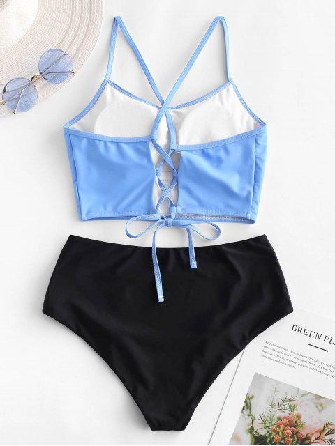 ZAFUL Sun Print Bikini Tankini con control de la barriga y control del abdomen - Multicolor-A M Mobile