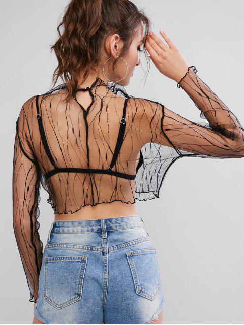 T-shirt Court en Maille Transparente à Manches Longues - Noir S Mobile