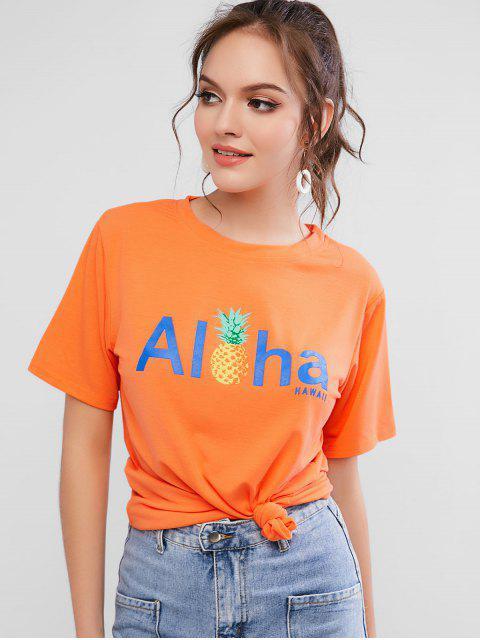 Tee-shirt basique à motifs d'ananas avec lettres et lettres - Orange Mangue XL Mobile