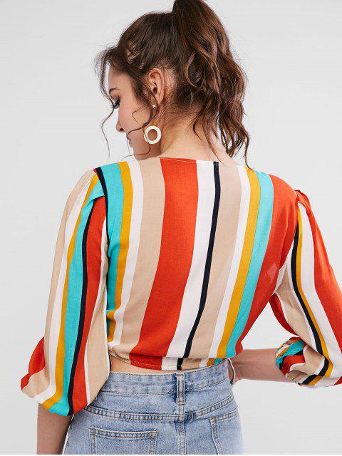 outfit ZAFUL Knotted Colorful Striped Crop Blouse - MULTI L Mobile