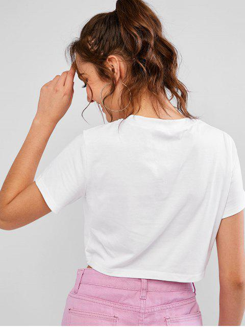 women ZAFUL Round Neck Sunflower Print Crop Tee - WHITE M Mobile