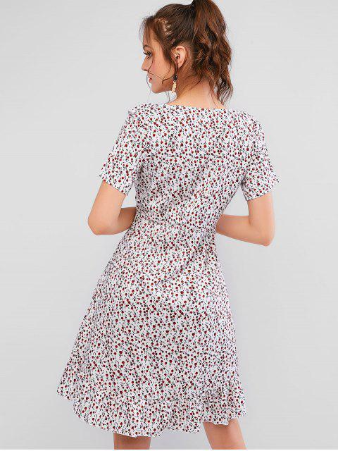 Robe Surplis à Volants Floraux Haut Bas - Multi-A L Mobile