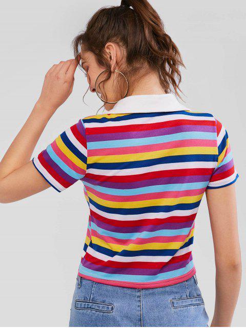 T-shirt Rayé Coloré à Manches Courtes - Multi-A M Mobile