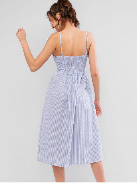 Robe Rayée Boutonnée à Bretelle avec Poche - Bleu Toile de Jean XL Mobile