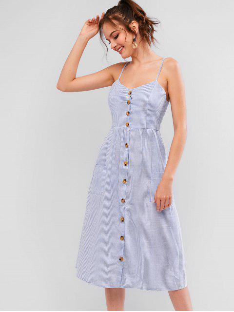 chic Button Up Pockets Striped Cami Dress - DENIM BLUE M Mobile