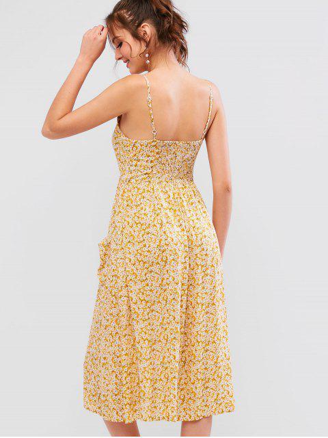 Vestido camisola con estampado floral y botones pequeños - Vara de Oro XL Mobile