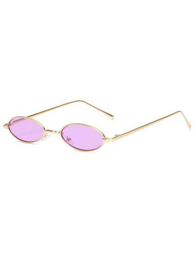 Vintage Small Oval Metal Sunglasses - Purple
