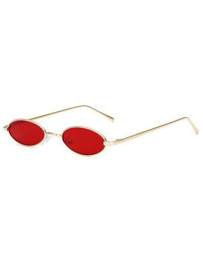 Vintage Small Oval Metal Sunglasses - Red Wine