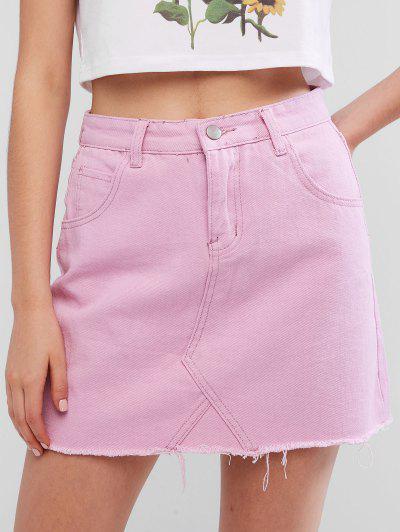 ab8225989a23b2 Mini jupe en jean à ourlet effiloché