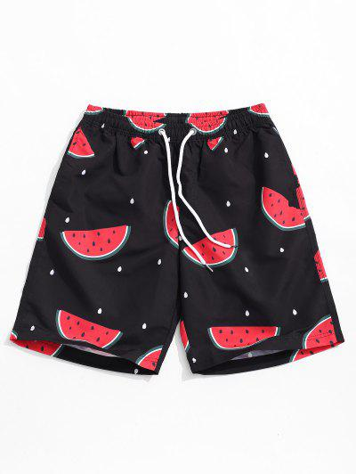 Watermelon Print Casual Beach Shorts - Black M