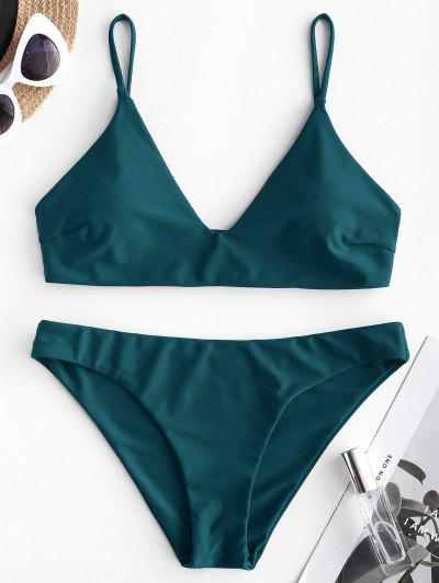 ZAFUL Solid Bralette Bikini Swimsuit - Peacock Blue L