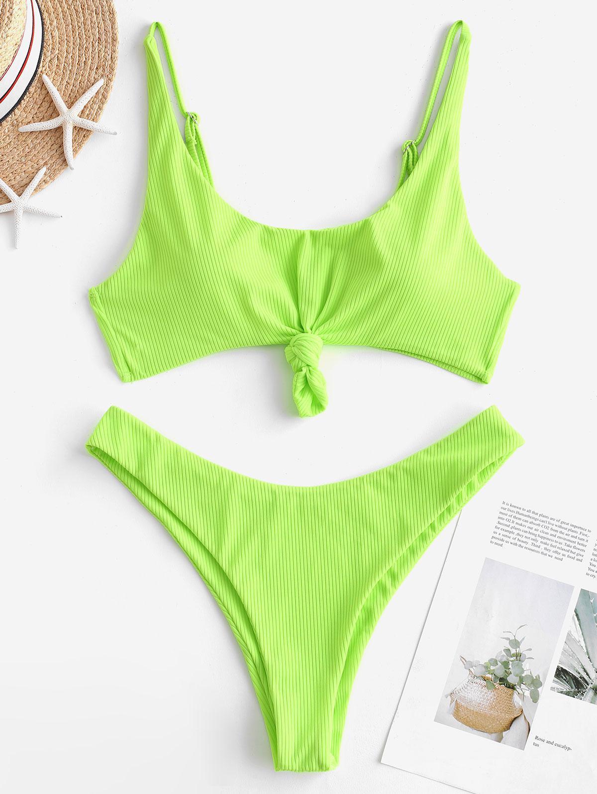 ZAFUL Ribbed Knotted Tank Bikini Swimsuit, Green yellow