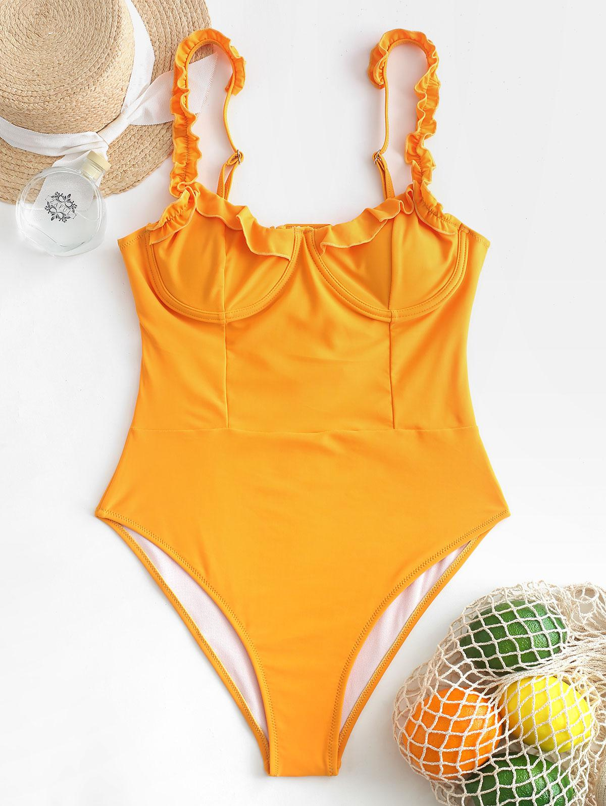 ZAFUL Lace-up Frilled Underwire One-piece Swimsuit, Saffron
