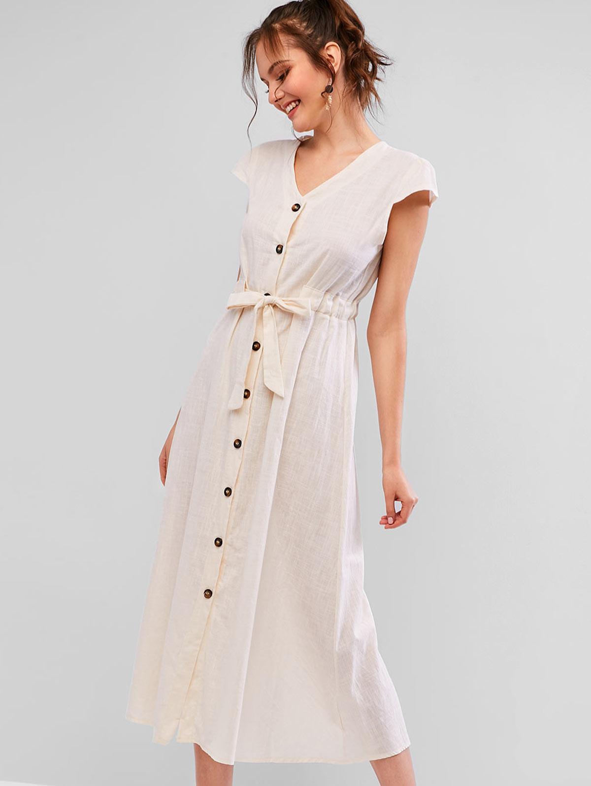 Collo A V Pulsante Annodato Maxi Dress
