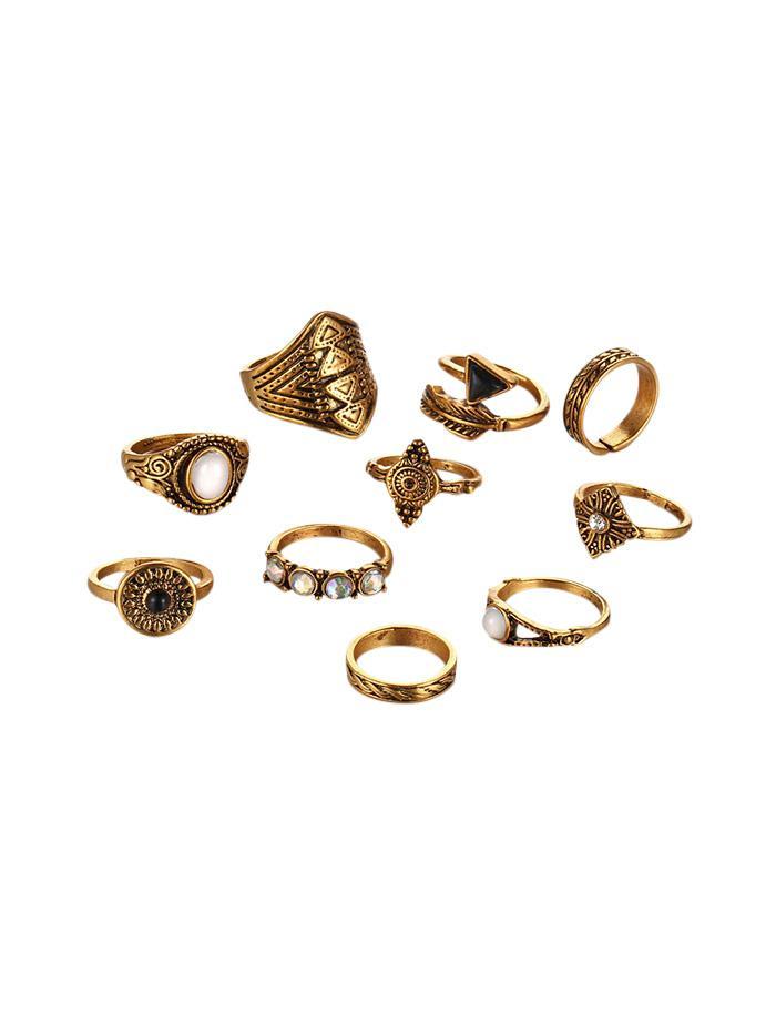 10Pcs Vintage Arrow Geometric Ring Set