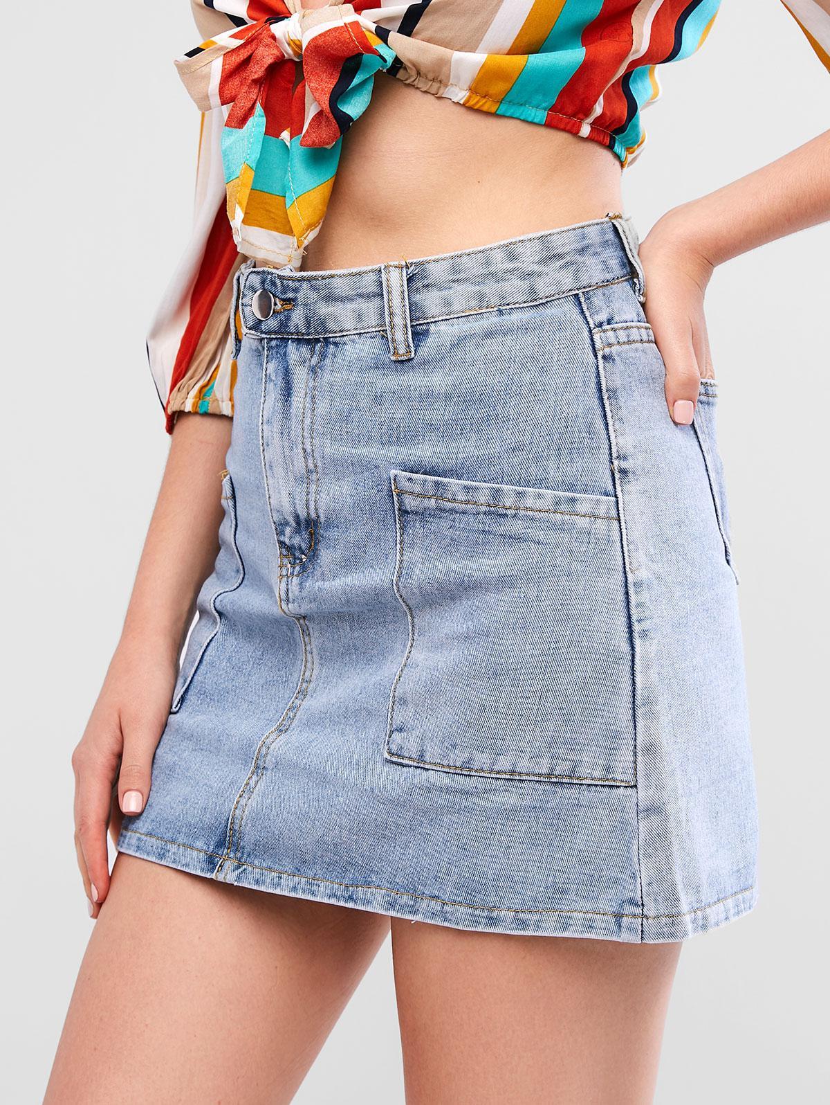 Una Linea Pocket Mini Gonna Di Jeans
