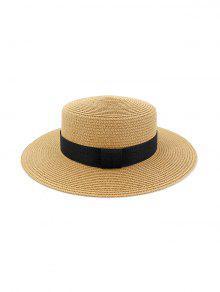 الشاطئ جولة القش حزام زينت قبعة الشمس - كاكي