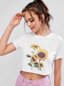 ZAFUL Round Neck Sunflower Print Crop Tee - White M