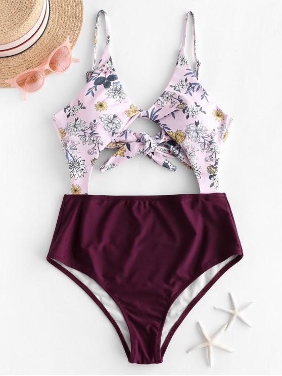 women ZAFUL Plant Print Twist Cutout One-piece Swimsuit - VELVET MAROON M