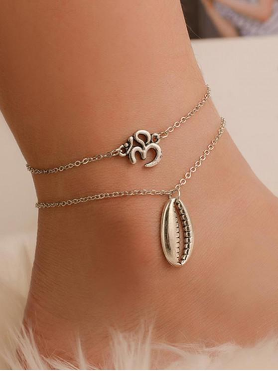 online Two-piece Shell Number Chain Beach Anklet - SILVER
