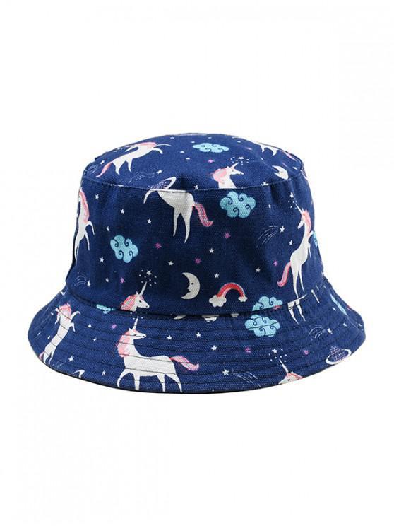 Sombrero del cubo de la impresión del unicornio de la historieta - Cadetblue