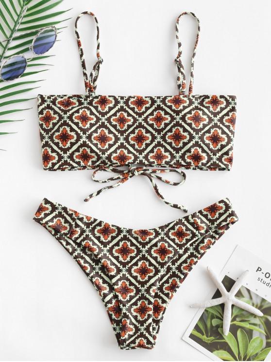 women ZAFUL Retro Floral Lace Up Cami Bikini Set - MULTI-A S