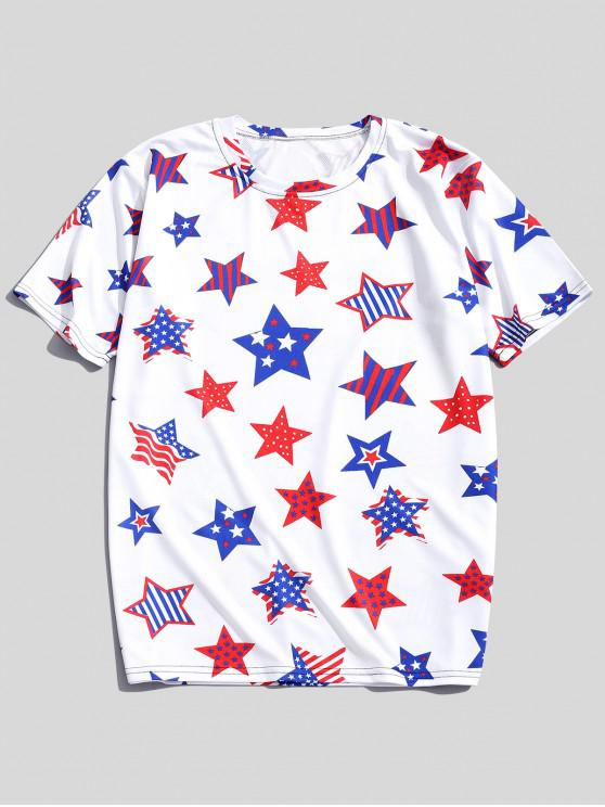 buy Striped Dots Stars Patriotic Print Short Sleeves T-shirt - SILK WHITE M