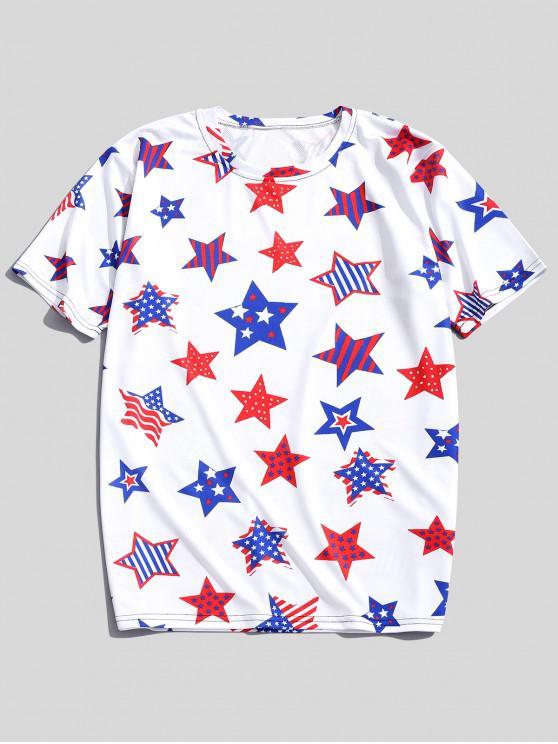 outfits Striped Dots Stars Patriotic Print Short Sleeves T-shirt - SILK WHITE 3XL