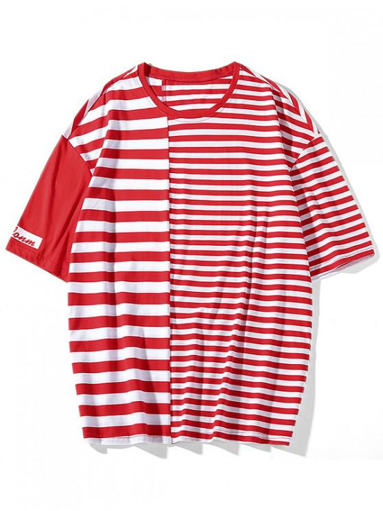 shops Striped Print Panel Short Sleeves T-shirt - RED 3XL