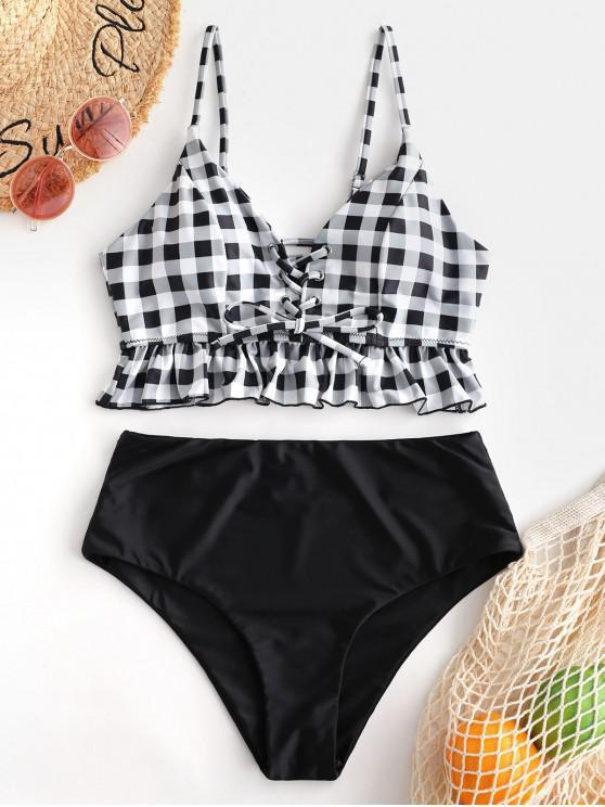 outfits ZAFUL Checkered Ruffle Lace Up Tankini Set - MULTI-A XL