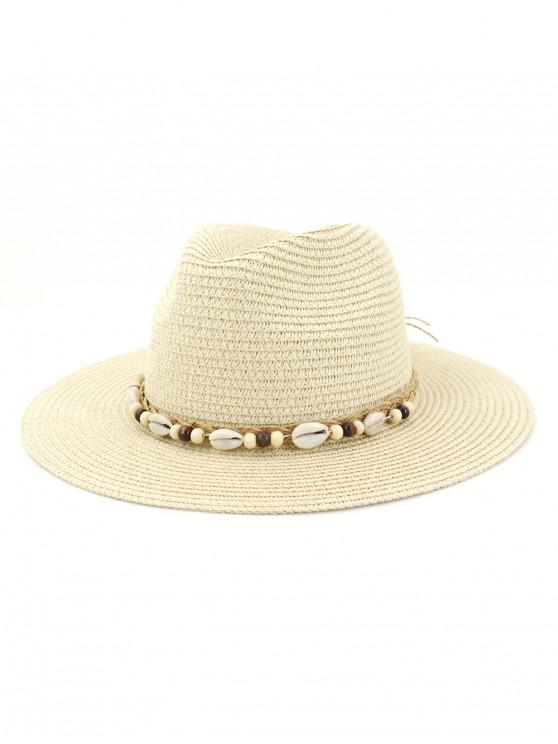 ladies Shell Beaded Bowknot Straw Hat - BEIGE