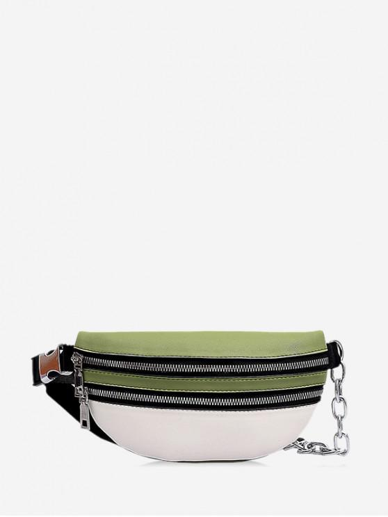 womens Contrast Color PU Chest Bag - DARK SEA GREEN