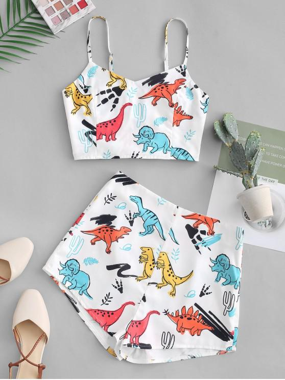 shop Smocked Dinosaur Cami Top And Shorts Set - WHITE L