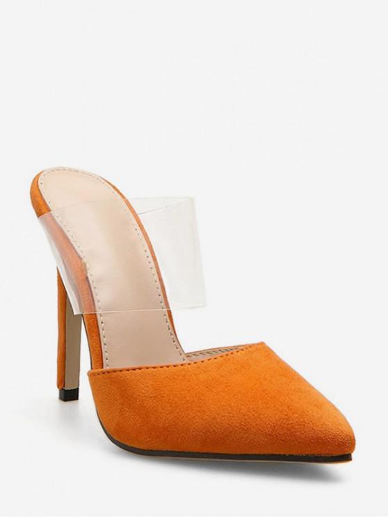 chic Transparent Pointed Toe Stiletto High Heel Slides - ORANGE EU 35