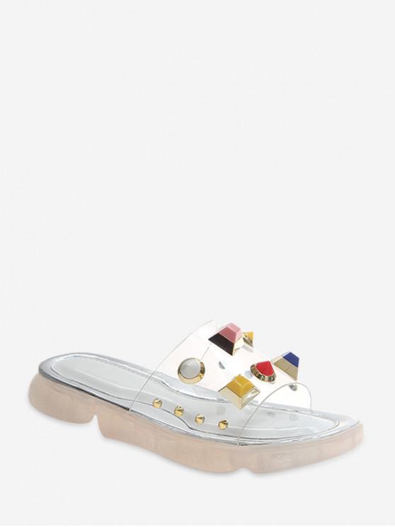 women's Transparent PVC Faux Gemstone Slides - WHITE EU 39