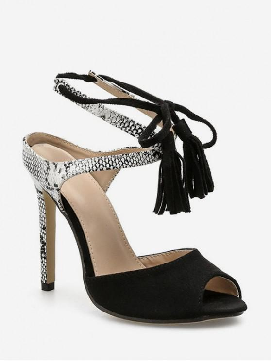 Snakeskin Peep Toe Fringe Decor High Heel Sandals APRICOT BLACK