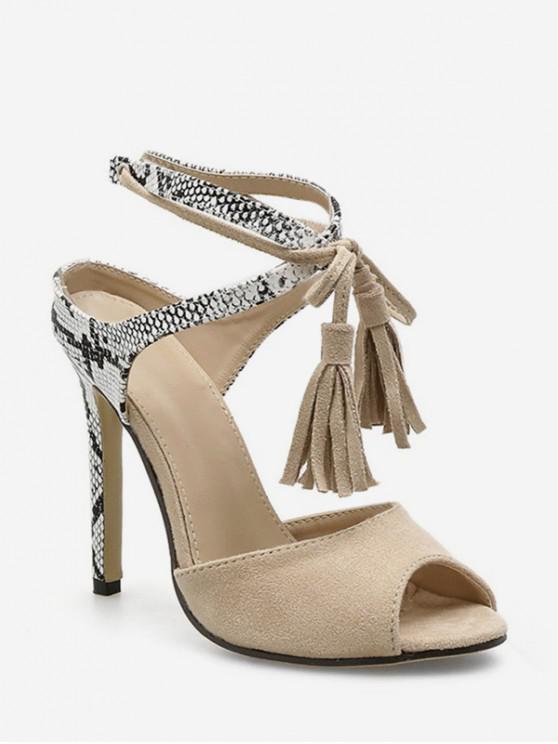 fashion Snakeskin Peep Toe Fringe Decor High Heel Sandals - APRICOT EU 42