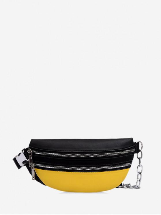 chic Contrast Color PU Chest Bag - BLACK