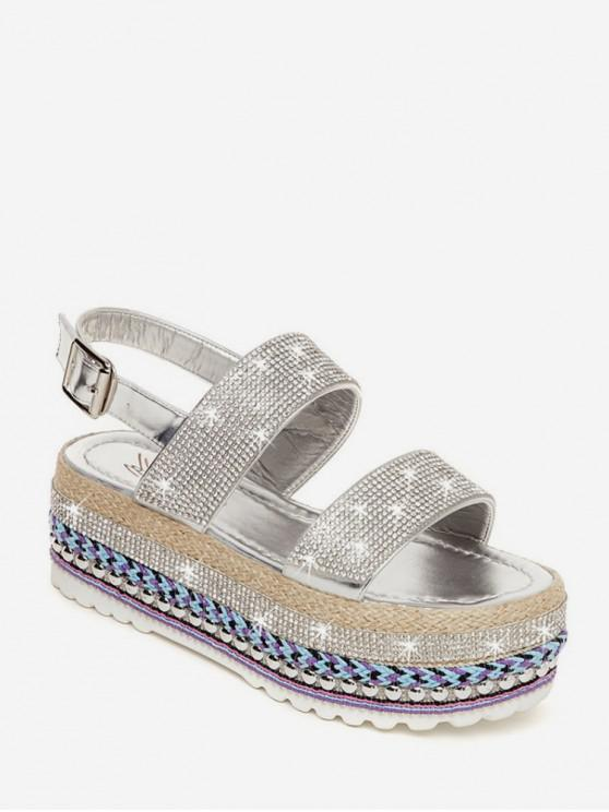 latest Shiny Rhinestone High Platform Sandals - SILVER EU 39