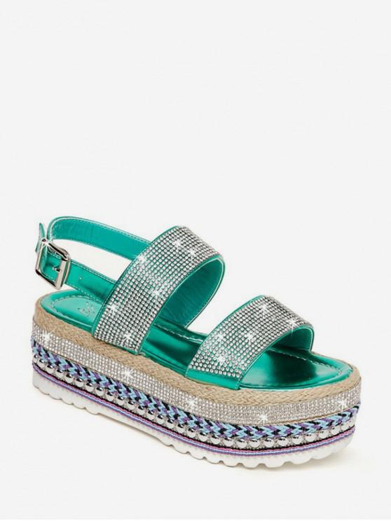 trendy Shiny Rhinestone High Platform Sandals - SHAMROCK GREEN EU 38