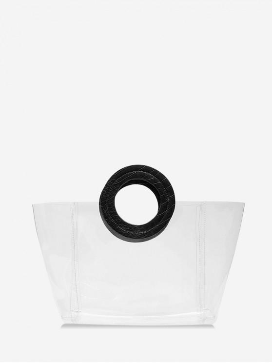 chic Beach Transparency Design Tote Bag - BLACK