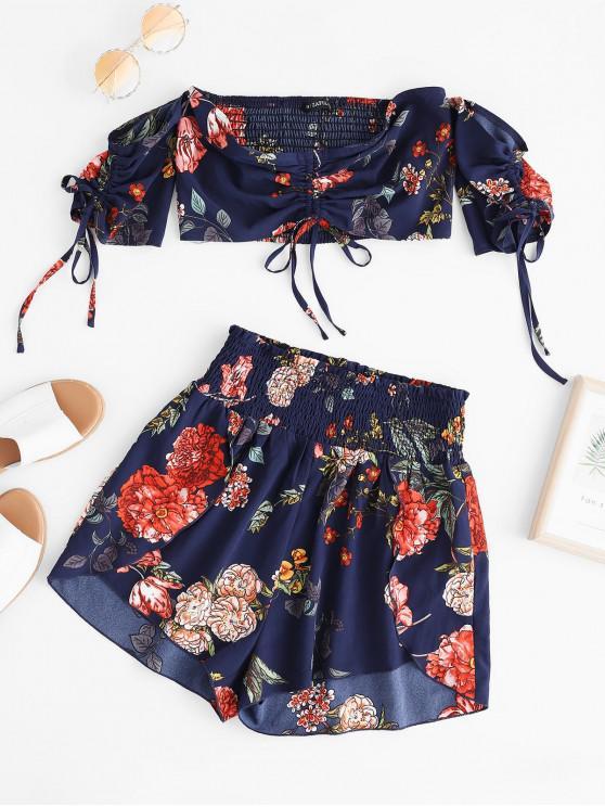 latest ZAFUL Flower Smocked Off Shoulder Cinched Shorts Set - DARK SLATE BLUE M