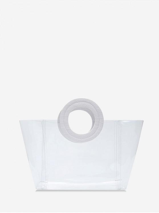 women's Beach Transparency Design Tote Bag - MILK WHITE