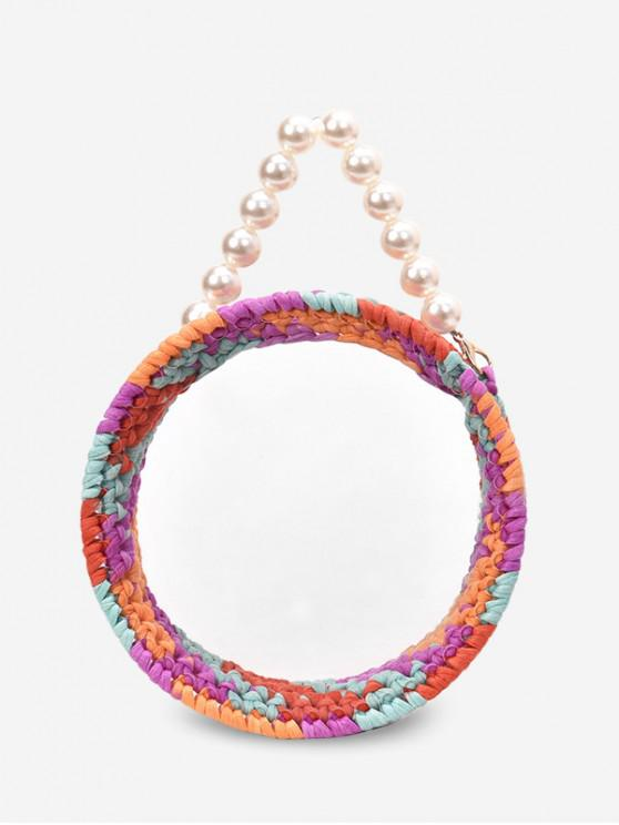 best Round Open Stylish Pearl Decorated Shoulder Bag - VIOLET
