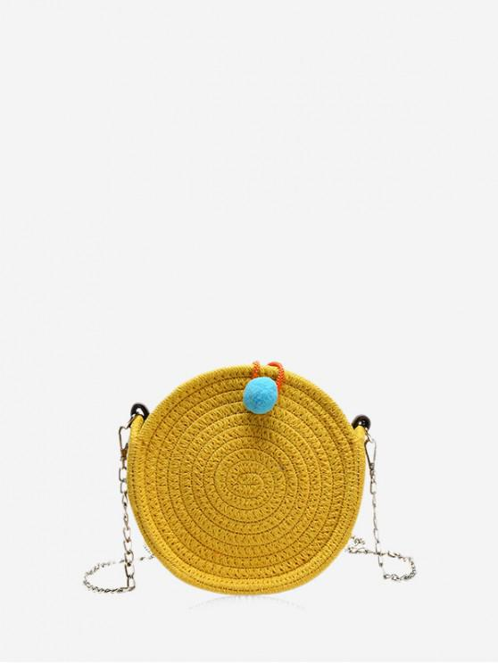 buy Chain Round Straw Ethnic Shoulder Bag - YELLOW