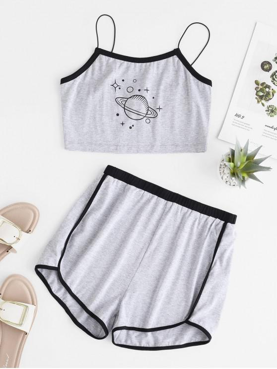 buy Planet Graphic Crop Top and Ringer Shorts Set - GRAY S