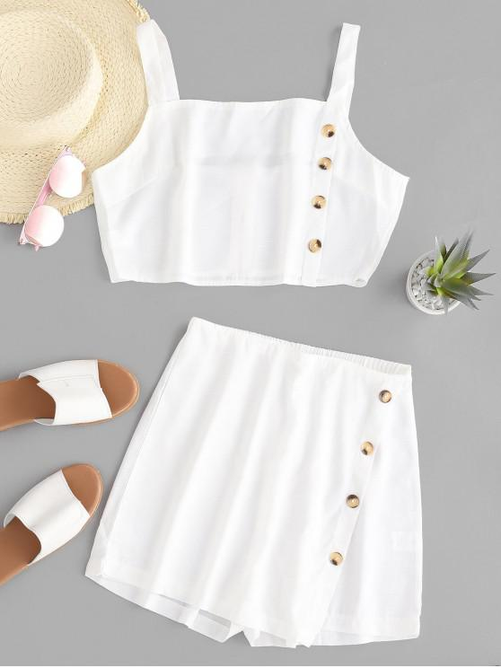 lady Buttons Crop Top and Overlap Shorts Set - WHITE M