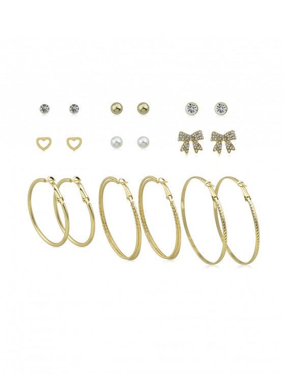 sale Alloy Rhinestone Heart Circle Bowknot Earrings Set - GOLD