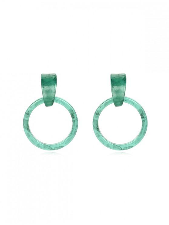 outfits Marbling Circle Stud Drop Earrings - MEDIUM TURQUOISE 5.5*3.5CM